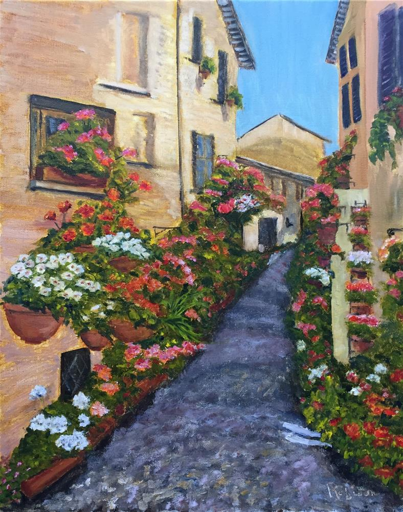 """Grand Finale:  Geranium Alley"" original fine art by Renee Robison"