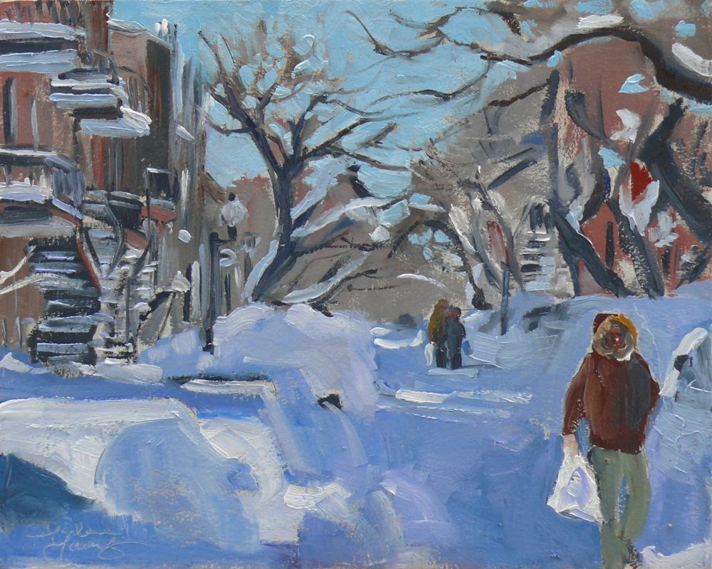 """582 Montreal Snow Scene"" original fine art by Darlene Young"