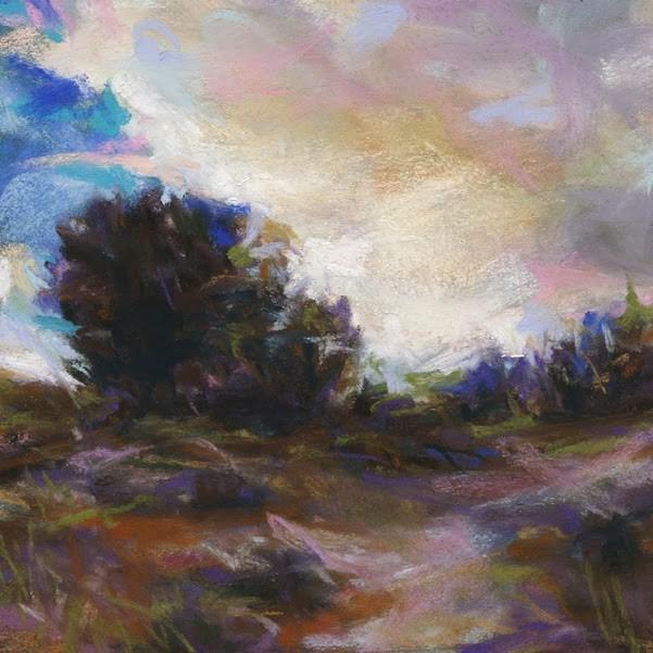 """""""A PATH - 4 1/2 x 4 1/2 landscape pastel by Susan Roden"""" original fine art by Susan Roden"""