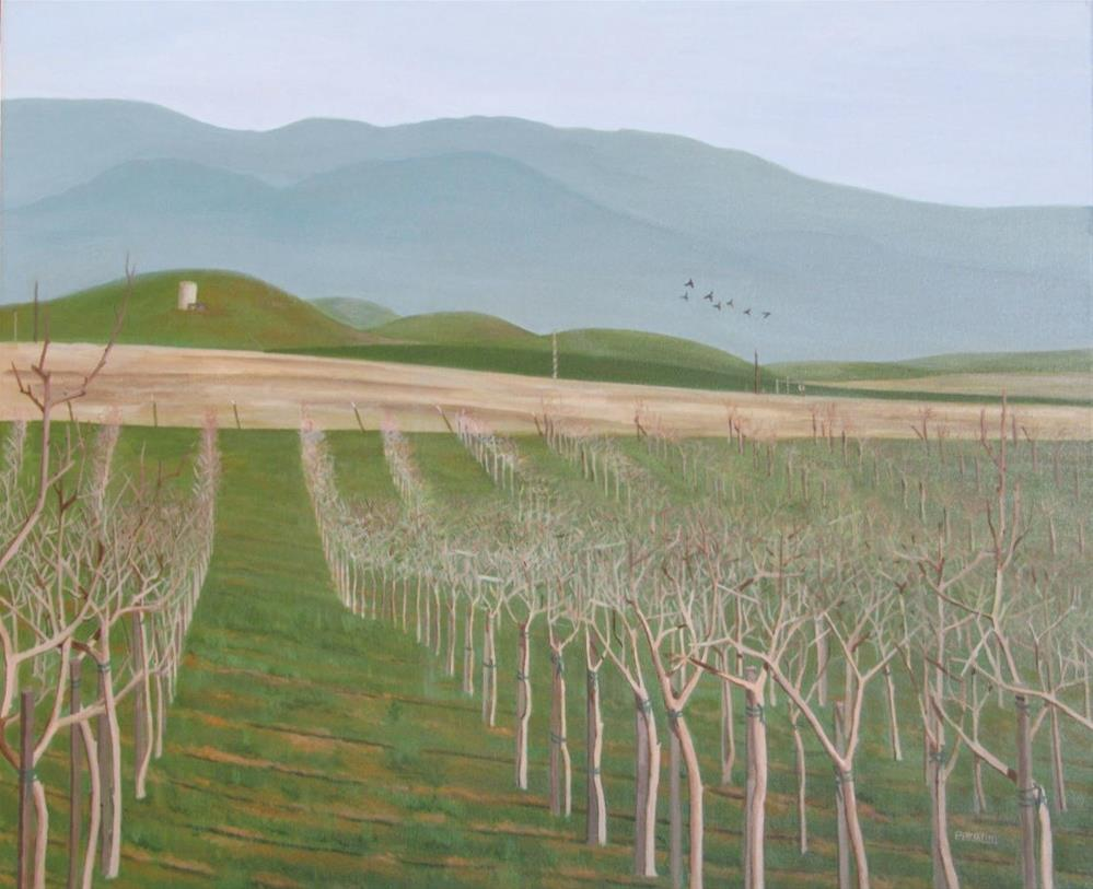"""Young pistachio Orchard "" original fine art by Pratima Patel"