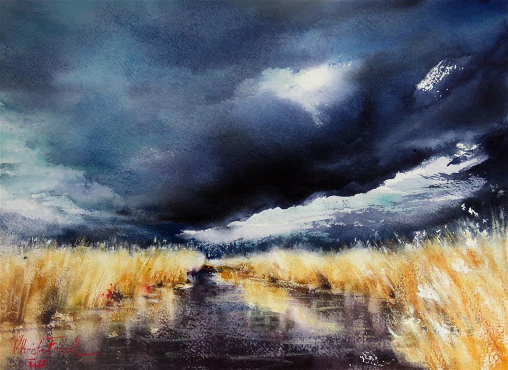 """approaching thunder at lake Neusiedl"" original fine art by Christa Friedl"