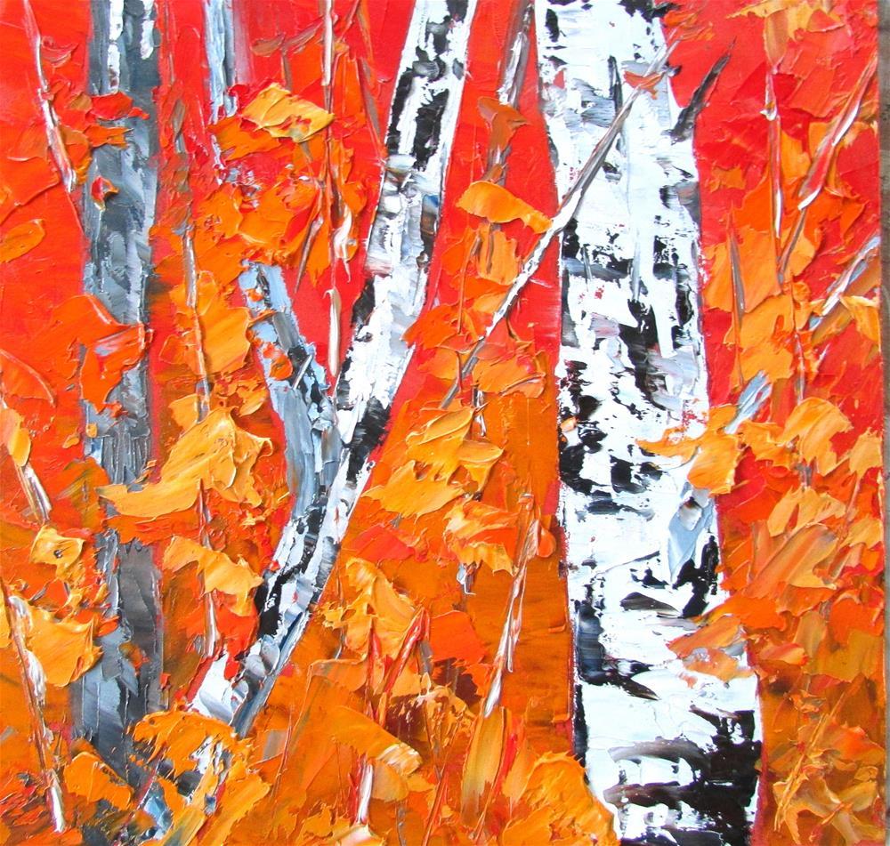 """""""8 x 8 inch oil LIttle Birches #13"""" original fine art by Linda Yurgensen"""