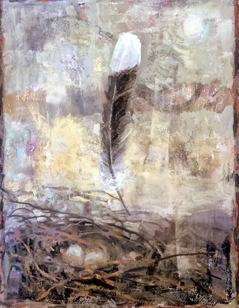 """Feather - Water-Media Workshop.   Day 16"" original fine art by Julie Ford Oliver"