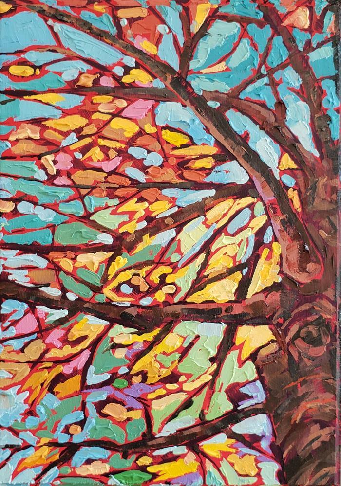"""""""Golden Leaves"""" original fine art by Bhavna Misra"""