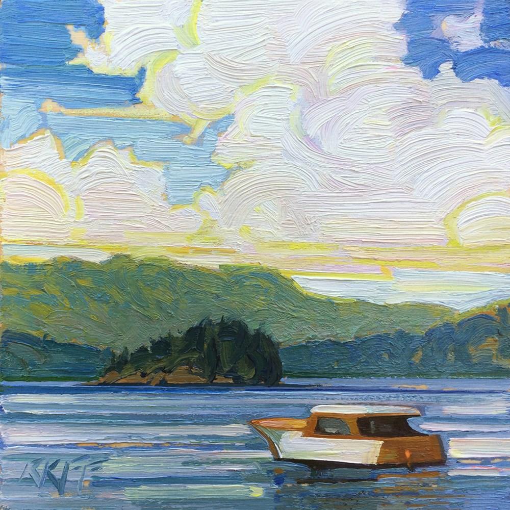 """""""Brentwood Bay Boat:  6x6  oil on panel"""" original fine art by Ken Faulks"""