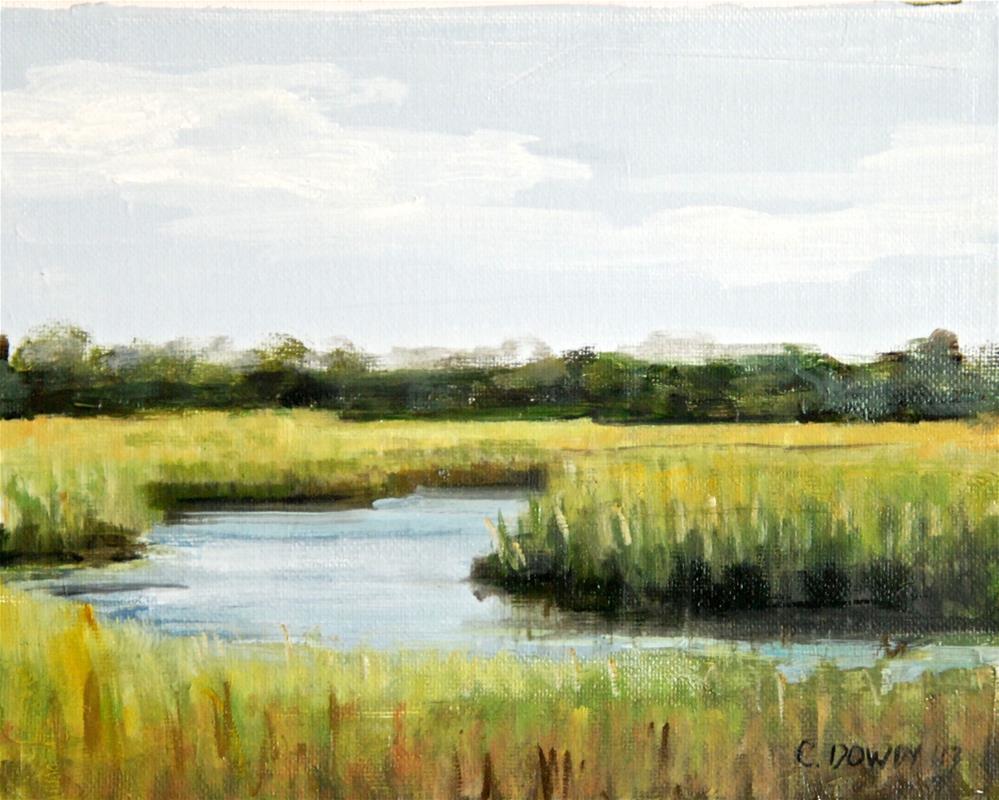 """""""Oil Sketch, Marsh"""" original fine art by Christina Dowdy"""