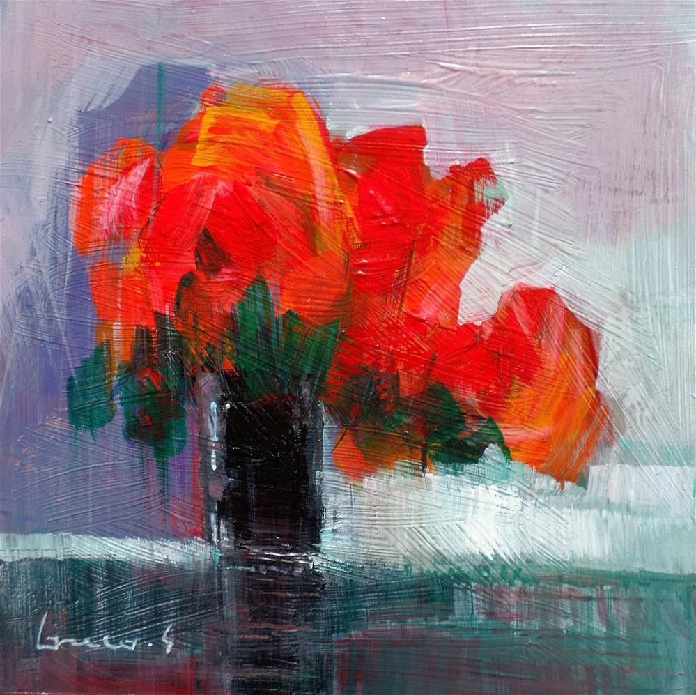 """red flowers"" original fine art by salvatore greco"
