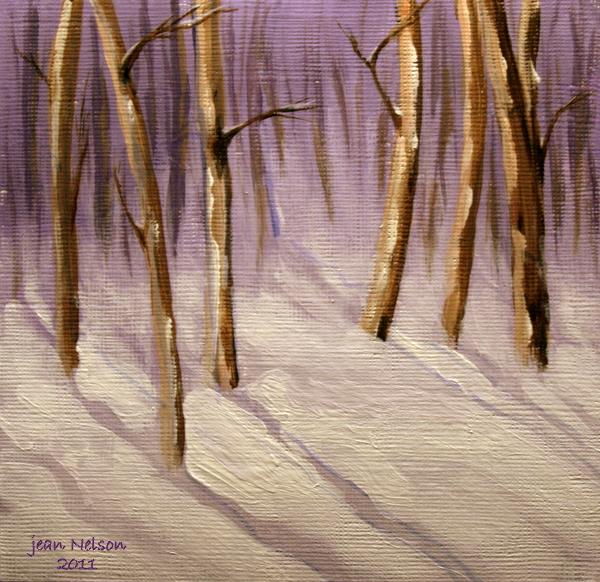 """""""The Little Woods in Winter"""" original fine art by Jean Nelson"""