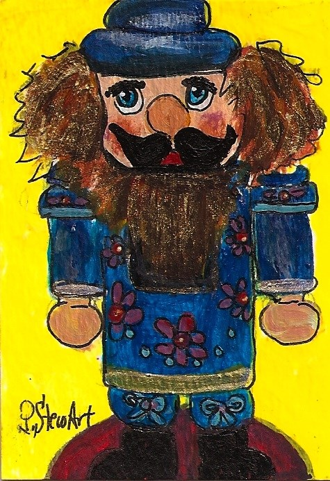 """ACEO Nutcracker Painting Tole Painted Cute Orig Acrylic Art SFA Penny StewArt"" original fine art by Penny Lee StewArt"