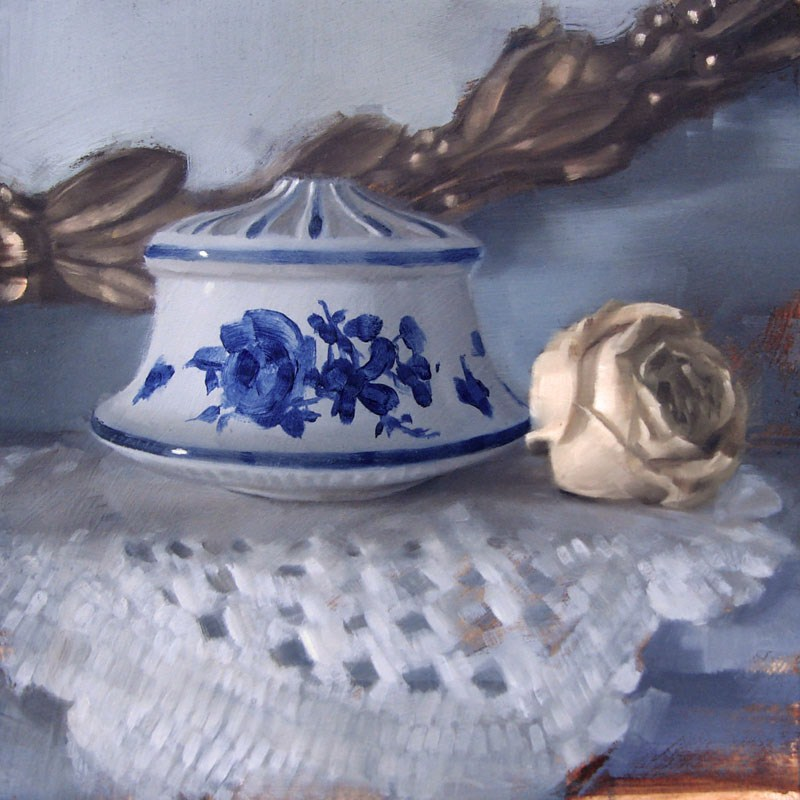 """""""Gold Leaf Mirror, Delftware Finial and Dried Rose (no.90)"""" original fine art by Michael William"""