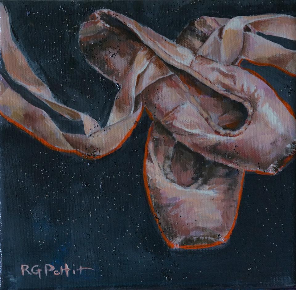 """""""Work: toe shoes"""" original fine art by Rhea  Groepper Pettit"""