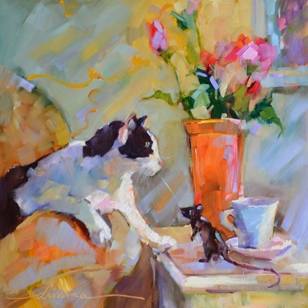 """""""Coffee Cat/ Macchiato Mouse  SOLD"""" original fine art by Dreama Tolle Perry"""