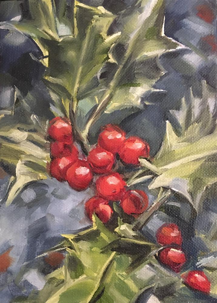 """""""Blue Holly"""" original fine art by Tamanda Elia"""
