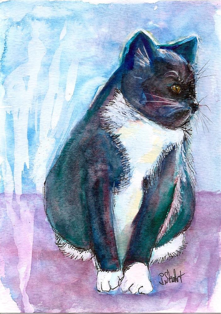 """""""5x7 Mr Blue Watercolor Cat Feline Kitty white chest by Penny Lee StewArt"""" original fine art by Penny Lee StewArt"""