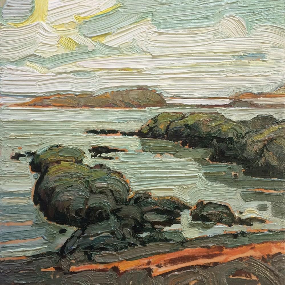 """""""Quiet Cove: 6x6 oil on canvas"""" original fine art by Ken Faulks"""