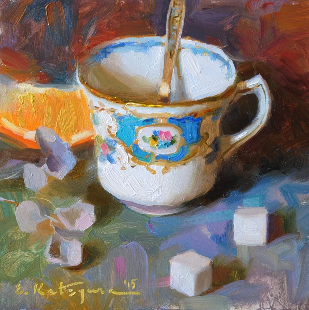 """Teacup and Sugar"" original fine art by Elena Katsyura"
