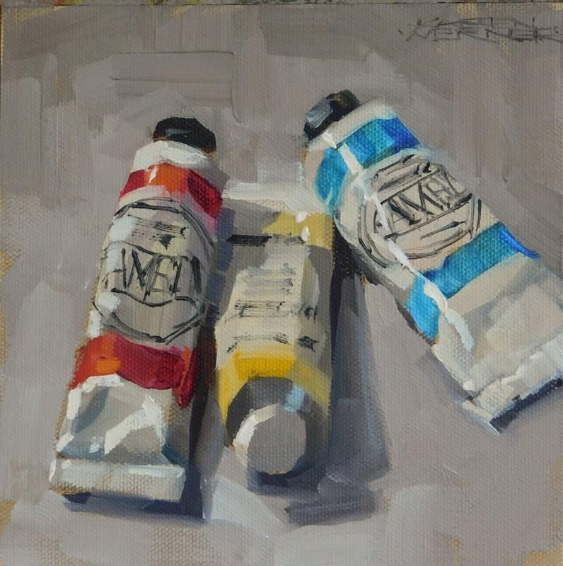 """""""Primaries On Gray"""" original fine art by Karen Werner"""