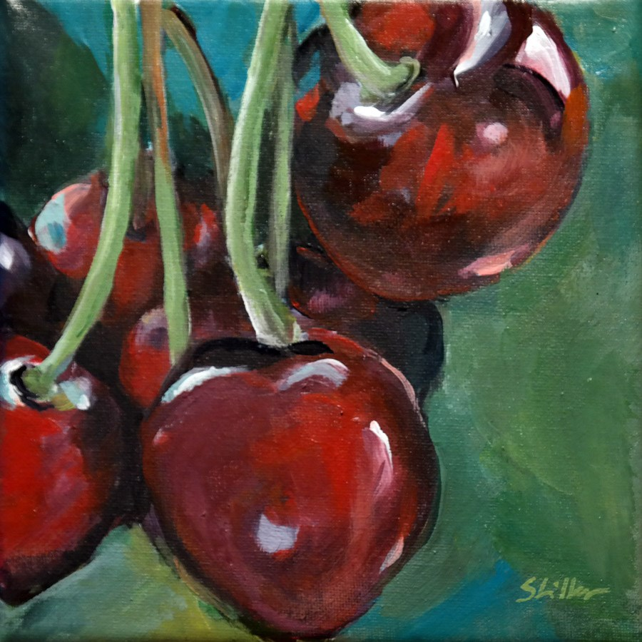 """1796 Eating Cherries"" original fine art by Dietmar Stiller"