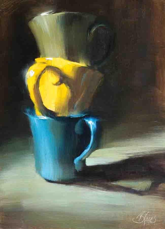 """Stacked Cups"" original fine art by Pamela Blaies"