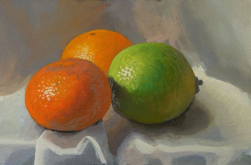 """""""Clementines and lime"""" original fine art by Peter Orrock"""