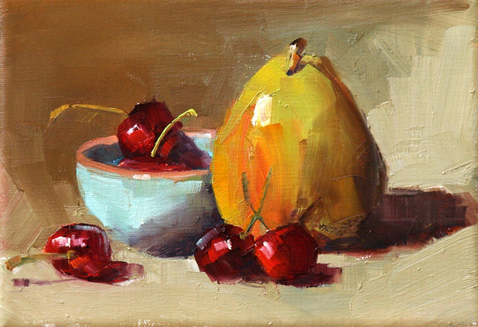 """bowl of cherries"" original fine art by Carol Carmichael"