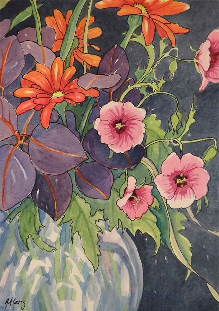"""Purple Smoke Tree and Flowers Storybook Cottage Flower Series"" original fine art by Alida Akers"