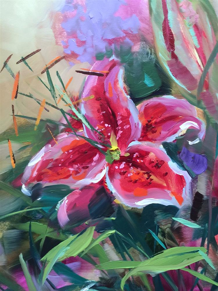 """""""Lily Love and Painting Brilliant Colors"""" original fine art by Nancy Medina"""