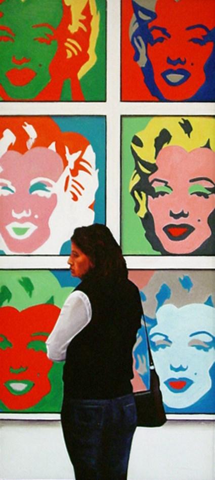 """""""Marilyn Female- painting of woman enjoying paintings of Marilyn Monroe by Andy Warhol in museum"""" original fine art by Gerard Boersma"""