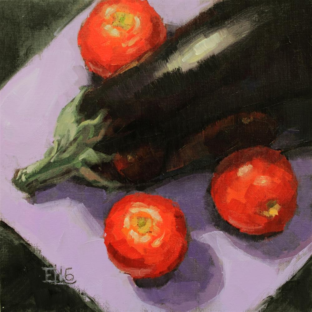"""Aubergine With Tomatoes"" original fine art by Emilia Leinonen"