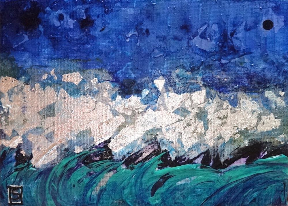 """5053 - Silver Sea - Bling Series"" original fine art by Sea Dean"