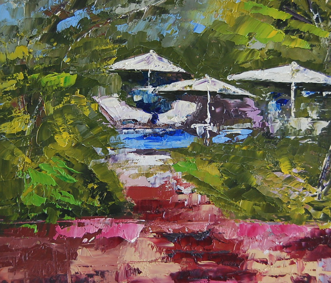 """Poolside"" original fine art by Deborah Harold"