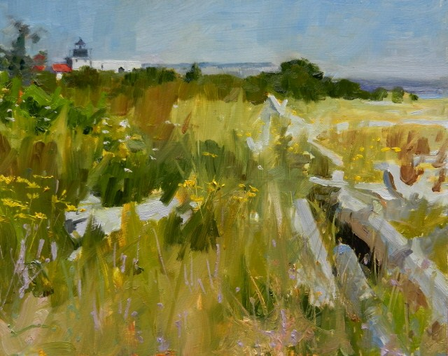 """""""Point No Point, Looking North  light house, landscape , oil painting by Robin Weiss"""" original fine art by Robin Weiss"""