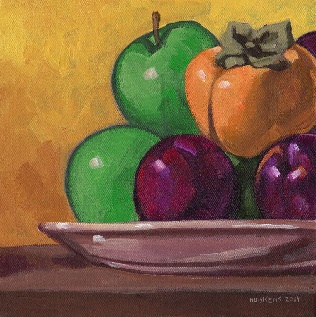 """Apples, Plums and Persimmons"" original fine art by Randal Huiskens"