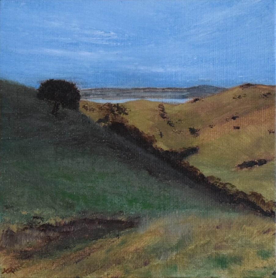 """Crockett Hills, One Tree, After Rain Study"" original fine art by Tisha Mark"