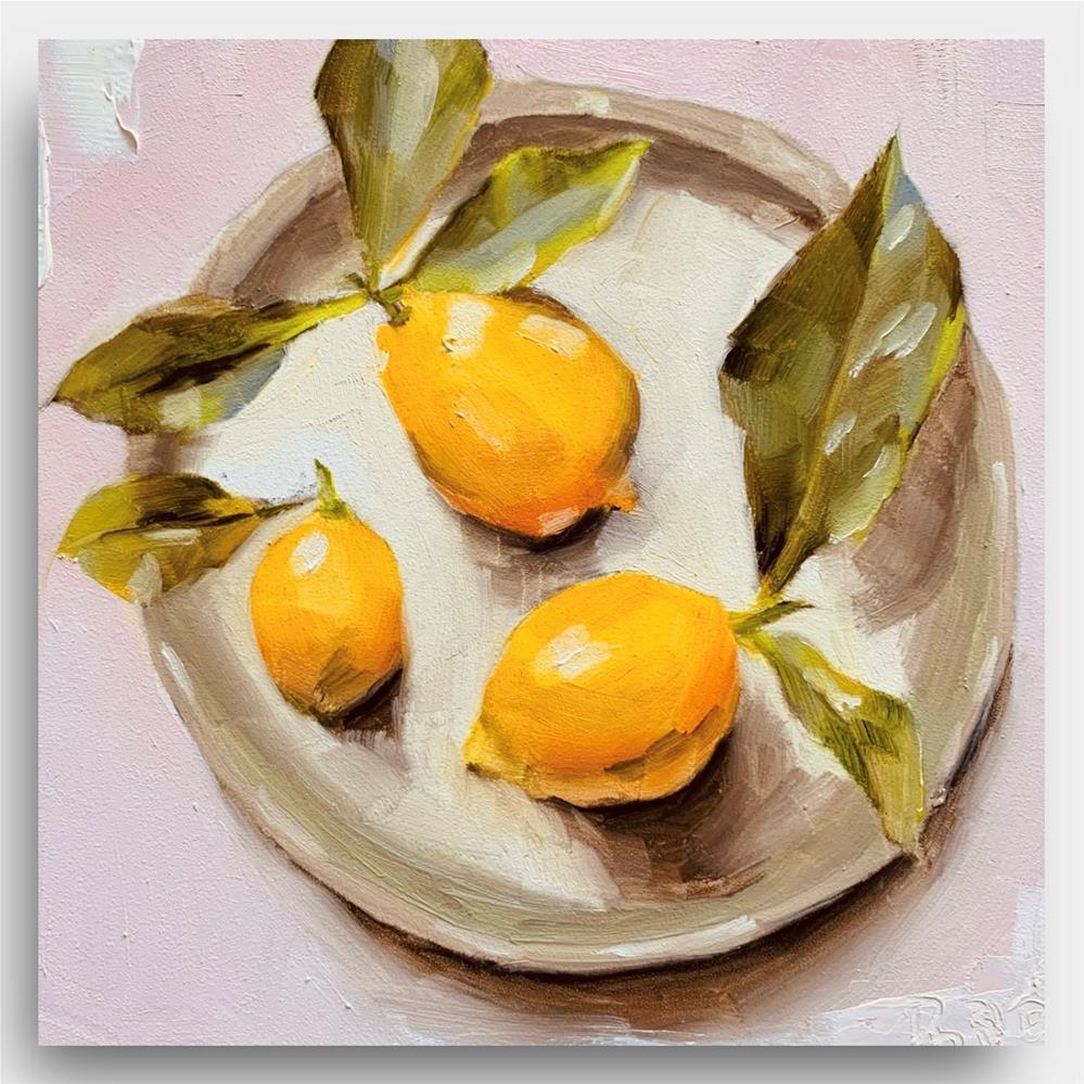 """847 Three Little Lemons on a Tray"" original fine art by Jenny Doh"