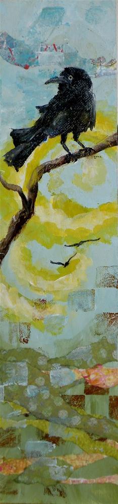 """SUBTLE PASSAGE OF CROWS ORIGINAL MIXED MEDIA ON CRADLED PANEL © SAUNDRA LANE GALLOWAY"" original fine art by Saundra Lane Galloway"