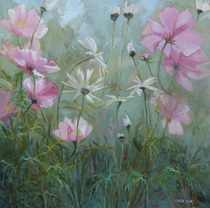 """""""Cosmos and Daisies"""" original fine art by Carolynn Doan"""
