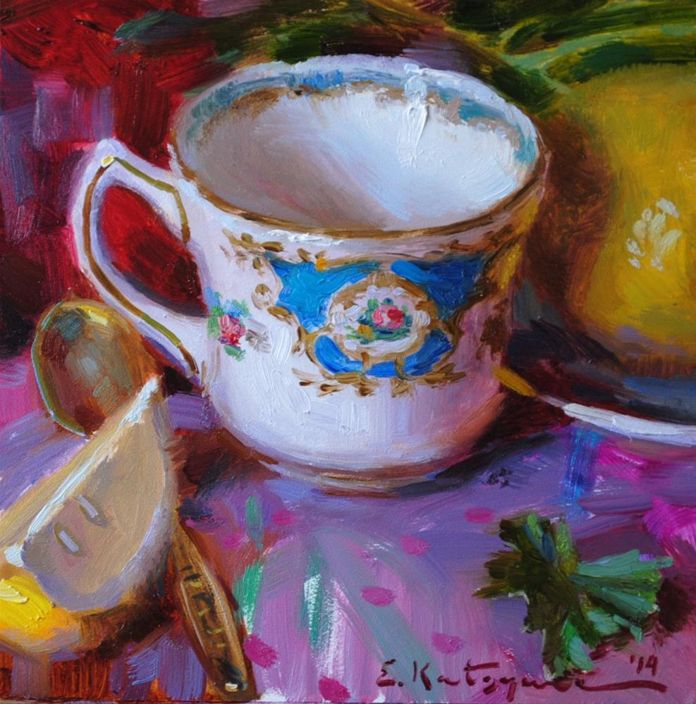 """Patterned Teacup and Lemons"" original fine art by Elena Katsyura"
