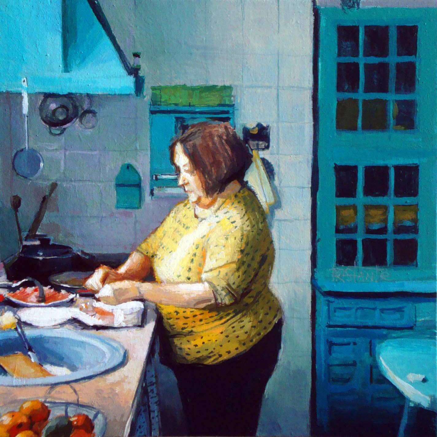 """The blue kitchen"" original fine art by Víctor Tristante"