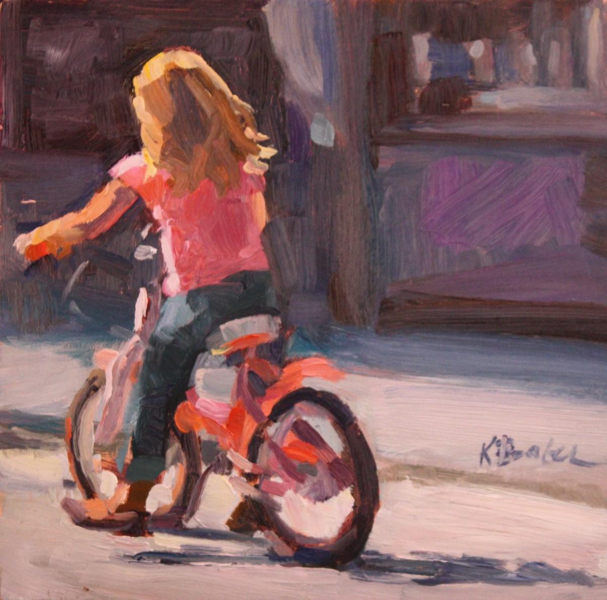 """""""Pink Bike"""" original fine art by Kaethe Bealer"""