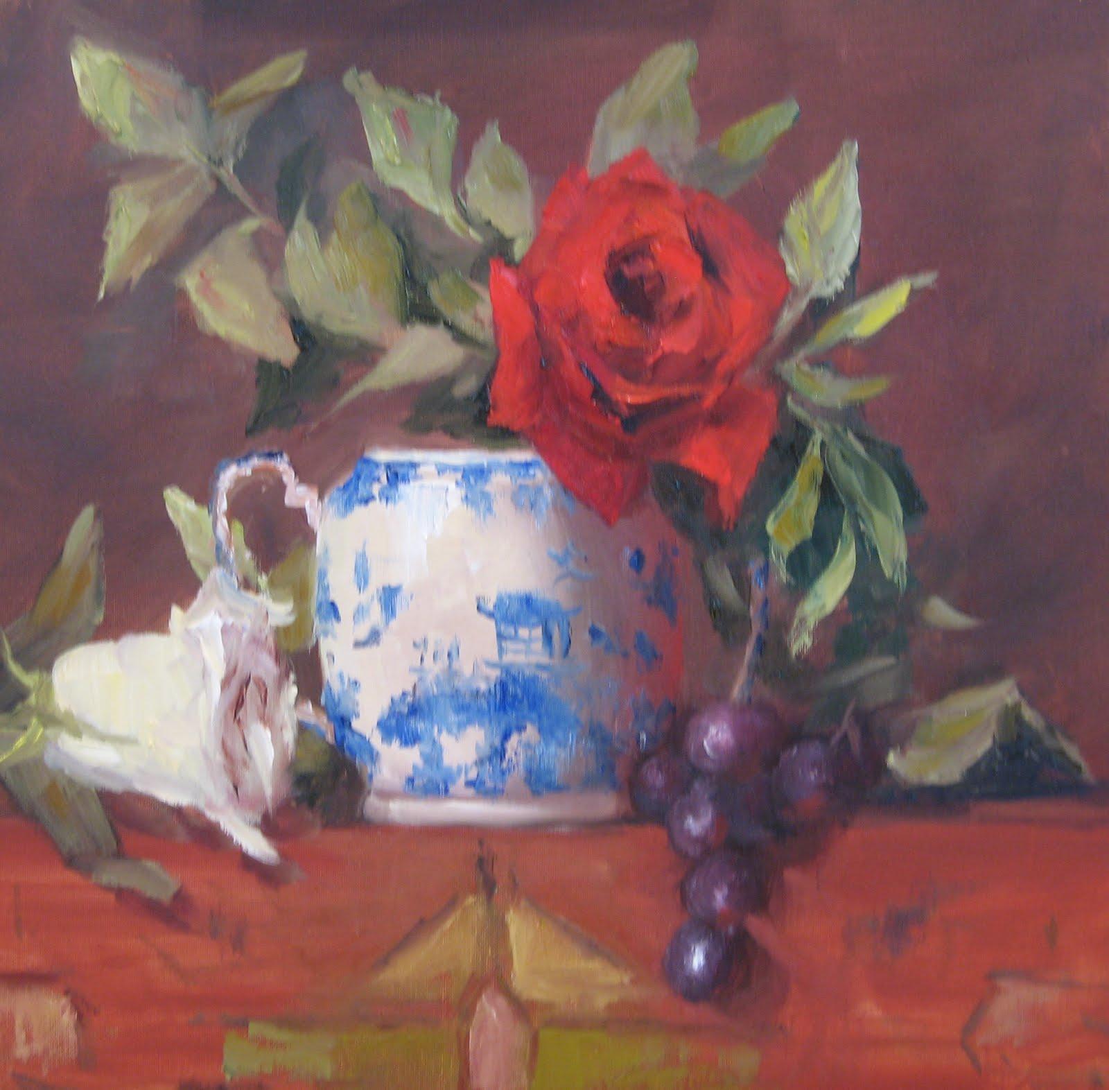 """Flower Study 19 Red Rose Blue Willow"" original fine art by Pat Fiorello"