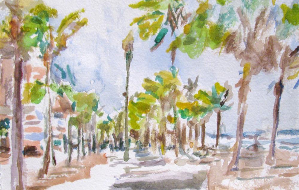 """""""Walking along the beach"""" original fine art by Susan Elizabeth Jones"""