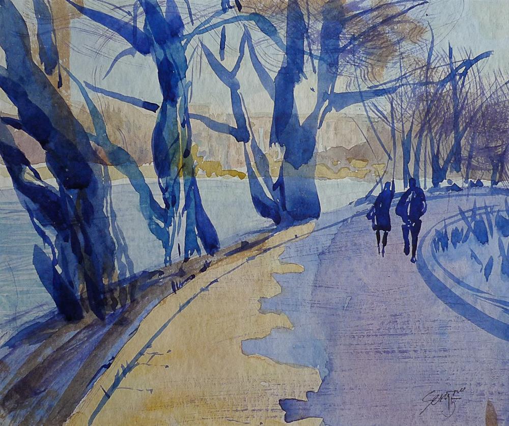 """Spring in the city park"" original fine art by Elena Senina"