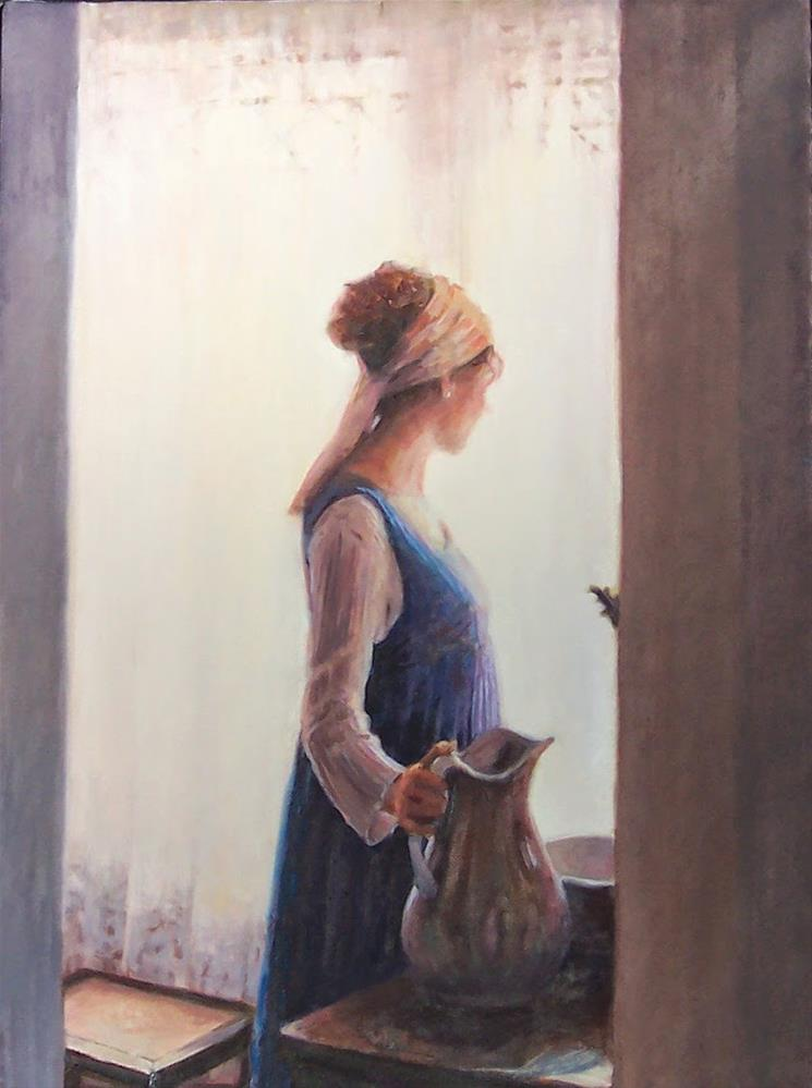 """Megan's Morning,figure,oil on canvas,24x18,priceNFS"" original fine art by Joy Olney"