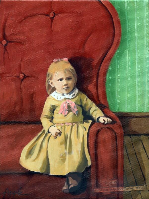 """Big Day - Little girl in big chair fantasy mixed media"" original fine art by Linda Apple"