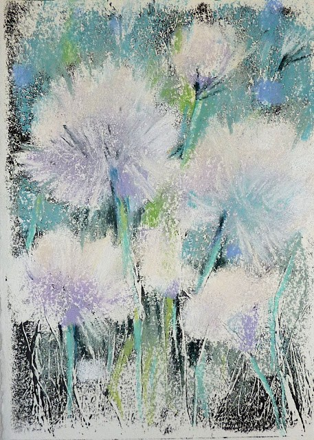 """Dandelion Seeds Monotype"" original fine art by Karen Margulis"