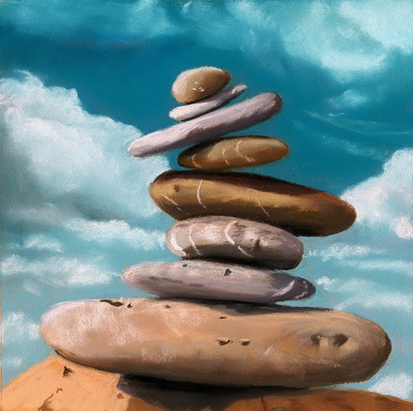 """""""Tipping cairn painting"""" original fine art by Ria Hills"""