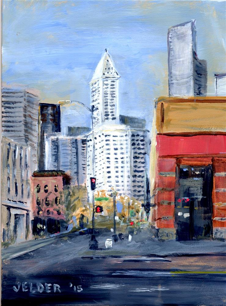 """Smith Tower"" original fine art by Judith Elder"