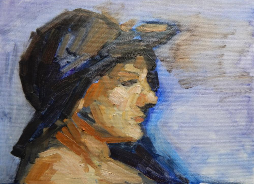 """Profile of Girl with a Hat"" original fine art by Megan Schembre"