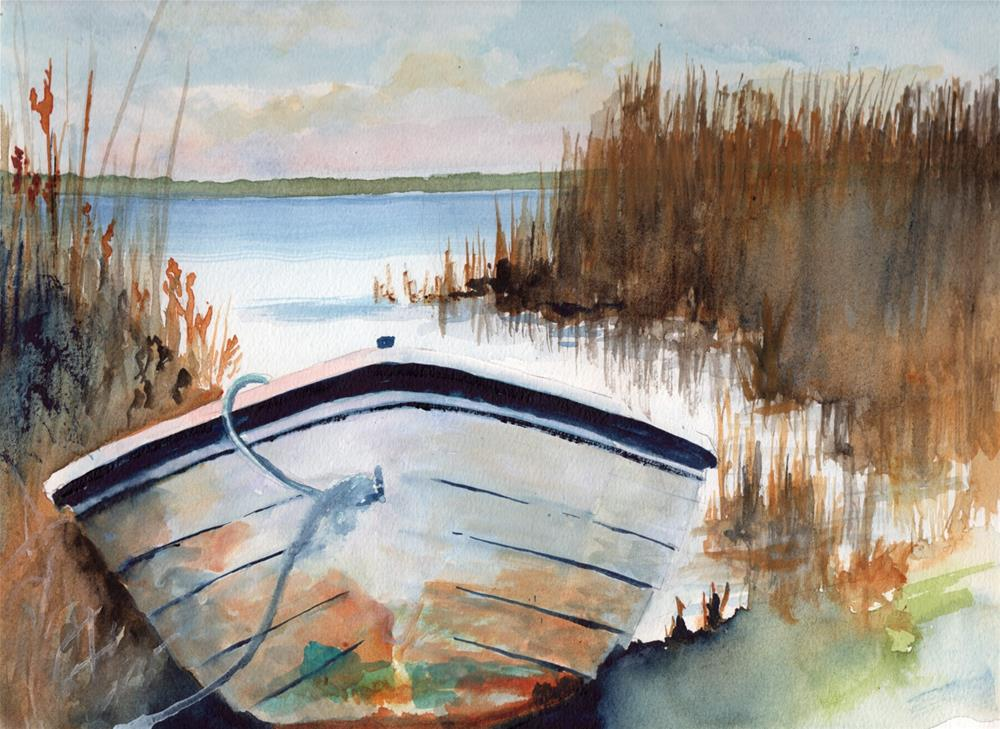 """""""Boat in Marshes"""" original fine art by Bunny Griffeth"""